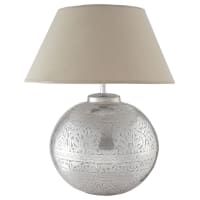 Lampe en laiton et abat-jour en tissu H 50 cm Salvador