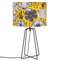 Lampe mit schwarzem Metallstell, Lampenschirm mit floralem Druckmuster Anthemis