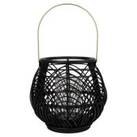 Lantaarn van zwarte bamboe en metaal Lila