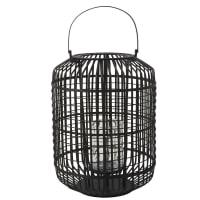 Lanterna in bambù nero e vetro Graphyk