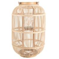 Lanterne en bambou et verre H50 Lisia
