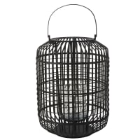 Lanterne en bambou noir et verre Graphyk