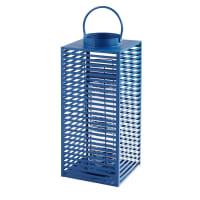 Lanterne en métal bleu et verre Elva