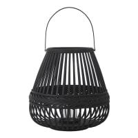 HARUN - Laterne aus geflochtenem Bambus, schwarz