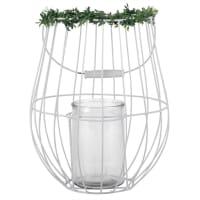 Laterne aus weißem Metall und Glas mit künstlicher Pflanzendeko