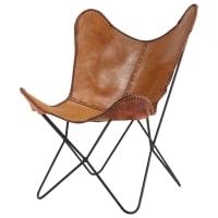 Leather armchair in camel Santiago