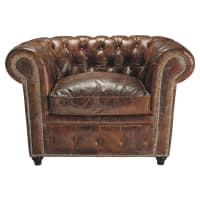 Leather button brown armchair Chesterfield