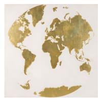Leinwand Weltkarte 80 x 80 Goldy