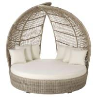 PARADISIO - Lettino prendisole rotondo 2 posti in resina con cuscini bianchi