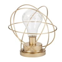 Leuchtdeko goldene Metallkugel mit LED-Birne