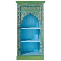 Libreria indiana in massello di mango blu e verde Madras