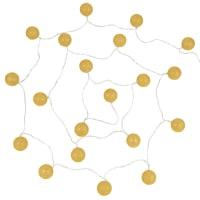 Set van 2 - Lichtslinger met gele katoenen bollen en 20 LEDS L360