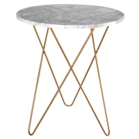 Light-coloured marble and gold metal side table Odyssee