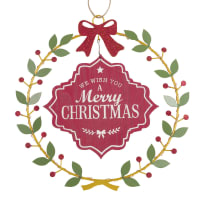 MERRY XMAS - Light-Up Metal Christmas Wreath D29