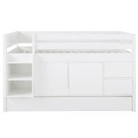 DREAMS - Lit surélevé combiné 90x190 blanc