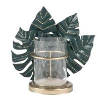 Lumignon en verre décor feuilles en métal vert et doré