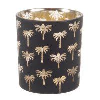 Lumignon en verre teinté noir imprimé palmiers