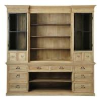 Mango Wood 12-Drawer 2-Door Bookcase Naturaliste