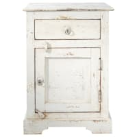 Mango wood bedside table with drawer in white W 42cm Avignon
