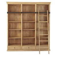 Mango Wood Bookcase with Ladder Naturaliste