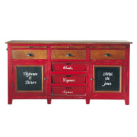 Mango wood sideboard in red Bistrot