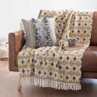 JUBA - Manta de algodón amarilla con motivos decorativos 160x210