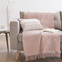 Manta de algodón rosa con flecos 125x150 Mahdia