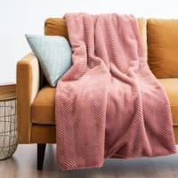 APOLLON - Manta de imitación de piel rosa 150x180