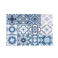 Mantel individual de vinilo con motivos de azulejos de cemento 30x45 Azul