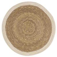 Mantel individual redondo de yute blanco