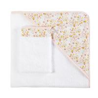Mantella da bagno neonato in cotone bianca motivo liberty Apolline