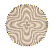 Mat van katoen en jute met meerkleurige kwastjes D100 Eliot