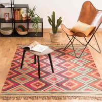 Meerkleurig gevlochten wollen  tapijt 160x230 Acapulco
