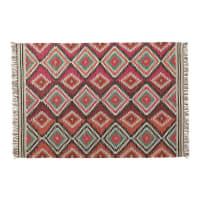 ACAPULCO - Meerkleurig gevlochten wollen tapijt 140x200