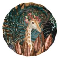 CHIMERE - Set van 6 - Meerkleurig plat bord van aardewerk met tropische motieven en giraf