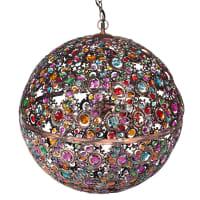 Meerkleurige bolvormige hanglamp van koperkleurig metaal Mille Et Une Nuits