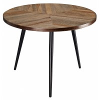mango wood and black metal end table Melchior