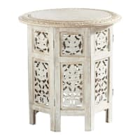 Mesa auxiliar tallada de madera blanca An. 46cm Saranya