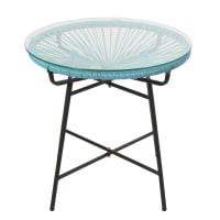 Mesa baja de jardín de resina azul y cristal Copacabana