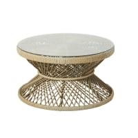 Mesa baja de jardín de resina trenzada con efecto mimbre trenzado y cristal Mayotte