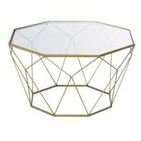BLOSSOM - Mesa baja de metal color latón y cristal