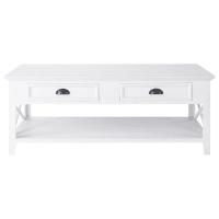 Mesa de centro de madeira branca largura 120cm Newport