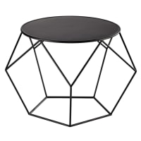 Mesa de centro de metal preta com forma redonda Prism