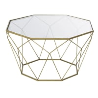BLOSSOM - Mesa de centro em metal de tom latão e vidro
