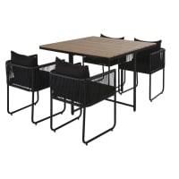 SWANN - Mesa de jardín de composite de imitación à teca para 4 personas L. 110 y sillones (x4) de resina negra