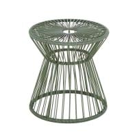 PEPPER - Mesita auxiliar de jardín de resina verde caqui y metal negro