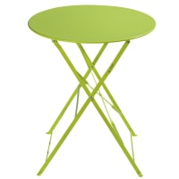 Metal folding garden table in lime green D 58cm Guinguette