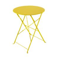 Metal folding garden table in yellow D 58cm Guinguette