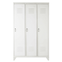 LOFT - Metal industrial closet in white W 115cm