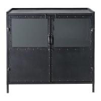 Metal industrial glazed sideboard in black W 87cm Edison